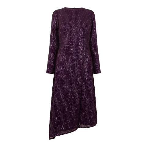 Oasis Mid Purple Sequin Sleeved Midi Dress