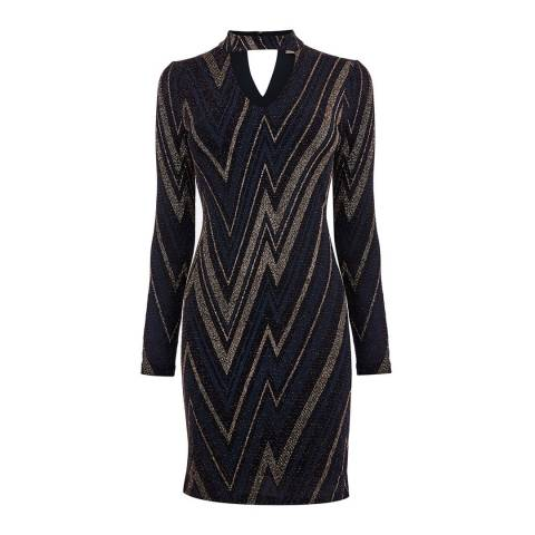 Oasis Multi Blue Large Zig Zag Dress