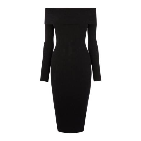 Oasis Black Cleo Bardot Moving Rib Knit Dress