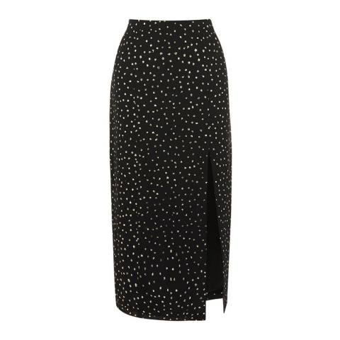 Oasis Multi Black Glitter Spot Column Midi Skirt