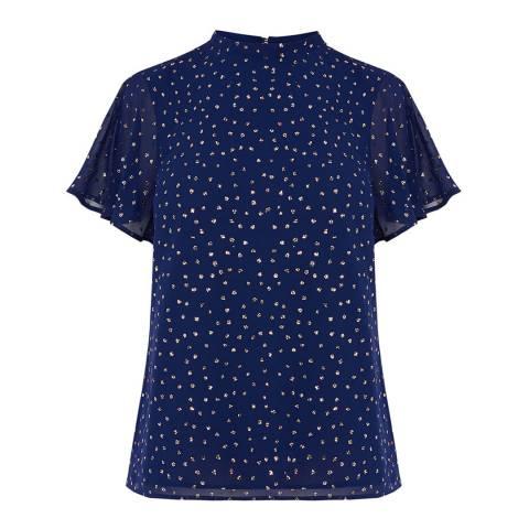 Oasis Mid Blue Glitter Spot Angel Sleeve Tee