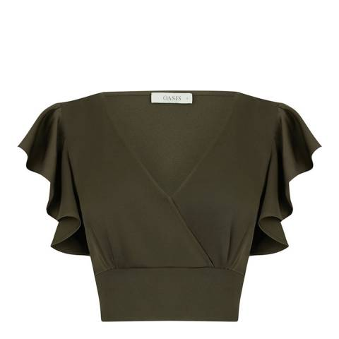 Oasis Khaki Cropped Satin Tie Top
