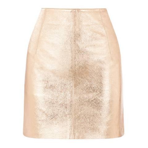 Oasis Gold Faux Leather Metallic Mini Skirt
