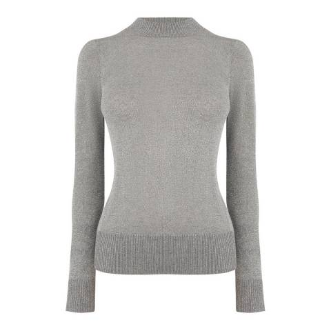 Oasis Silver Lucy Lurex Turtleneck Top