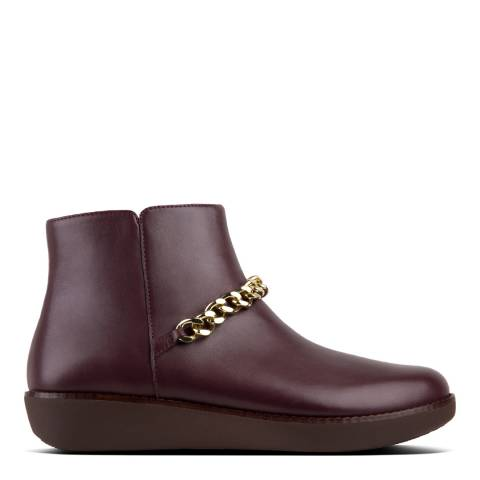 FitFlop Deep Plum Leather Pia Chain Ankle Boots