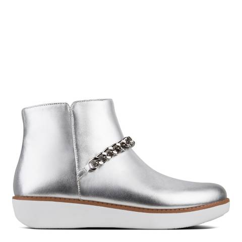 FitFlop Silver Leather Pia Chain Metallic Ankle Boots