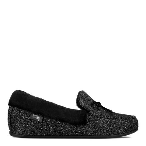 FitFlop Black Clara Glimmerwool Shearling Moccasin Slippers