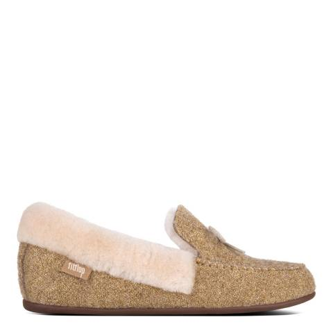 FitFlop Gold Clara Glimmerwool Shearling Moccasin Slippers