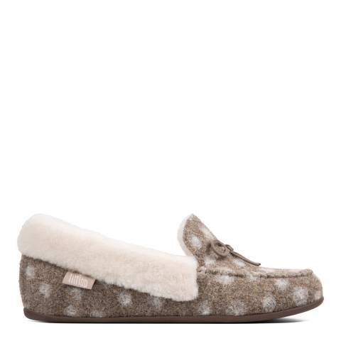FitFlop Taupe Wool Polka Dot Clara Shearling Moccasin Slippers