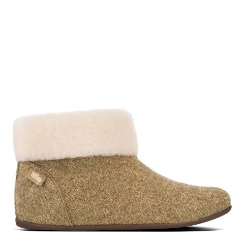 FitFlop Gold Wool Sarah Shearling Glimmer Slipper Booties