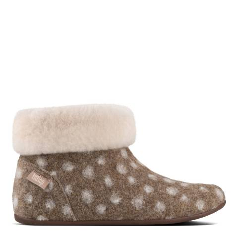 FitFlop Taupe Polka Dot Wool Sarah Shearling Slipper Booties