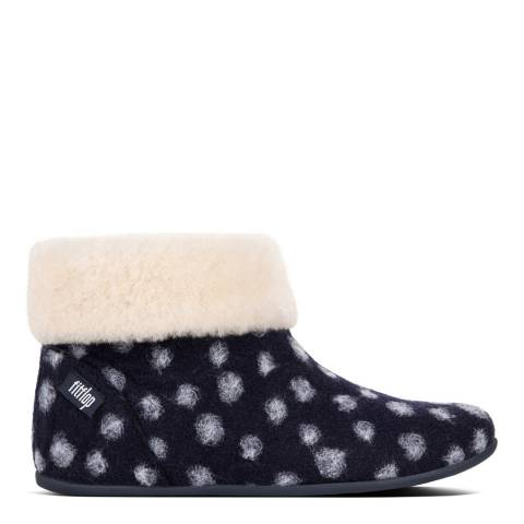 FitFlop Midnight Navy Polka Dot Wool Sarah Shearling Slipper Booties