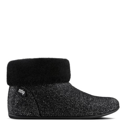 FitFlop Black Wool Sarah Shearling Glimmer Slipper Booties