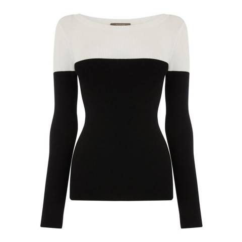 Oasis Black and White Cerys Colourblock Jumper