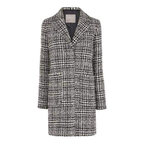 Oasis Multi Wool Blend Libby Check Relaxed Coat