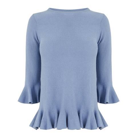 Oasis Mid Blue Nicole Flute Sleeve Jumper