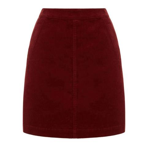 Oasis Burgundy Pocket Cord Skirt