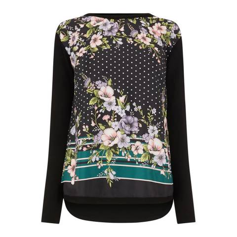 Oasis Multi Black Maddison Placement Woven Front Jumper