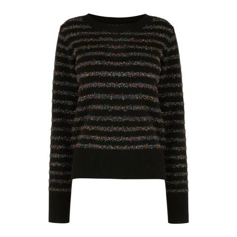 Oasis Multi Black Serina Tinsel Stripe Jumper