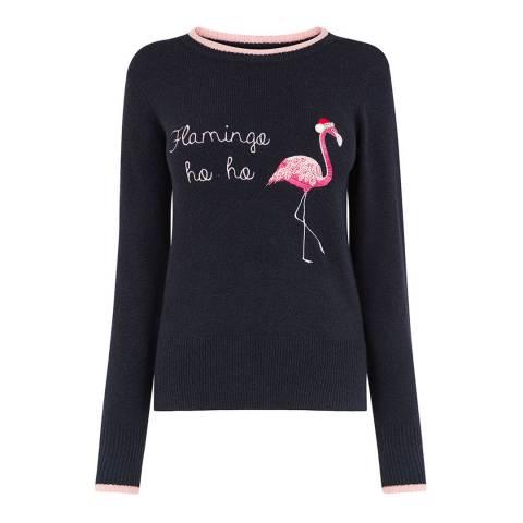 Oasis Navy Orla Flamingo Ho Ho Jumper
