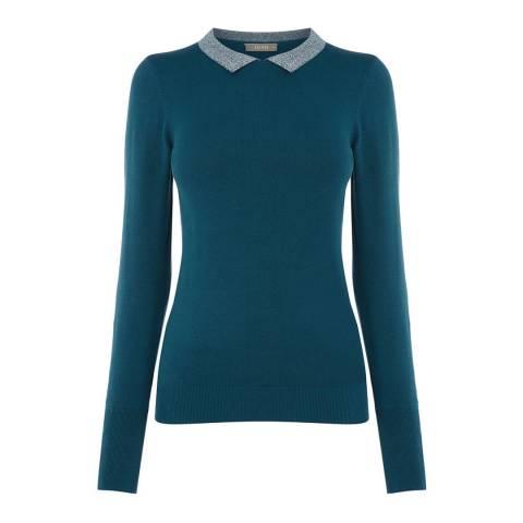 Oasis Turquoise Audrey Lurex Collar Jumper