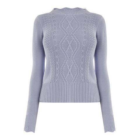 Oasis Mid Blue Laura Scalloped Cable Knit Jumper