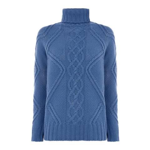 Oasis Mid Blue Matilda Raglan Cable Knit