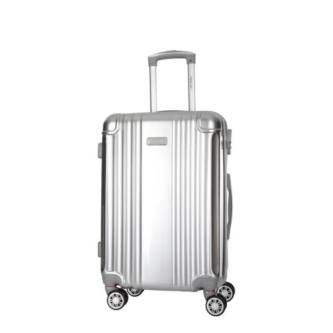 Travel One Silver Comilla Low Cost 8 Wheel Suitcase 46cm