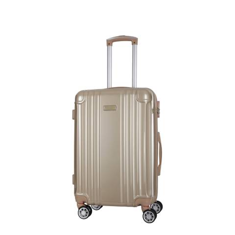 Travel One Beige Camilla Low Cost 8 Wheel Suitcase 46cm