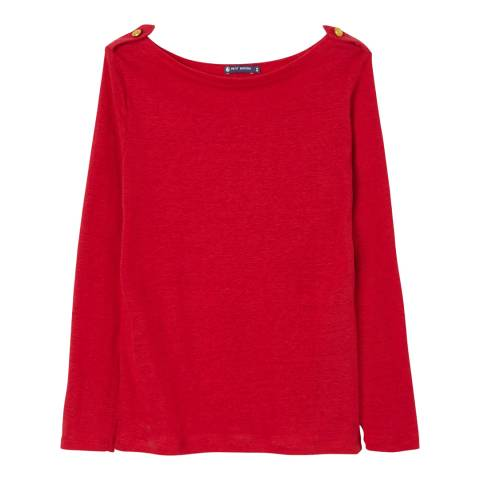 Petit Bateau Red Boat Neck Long Sleeve Top