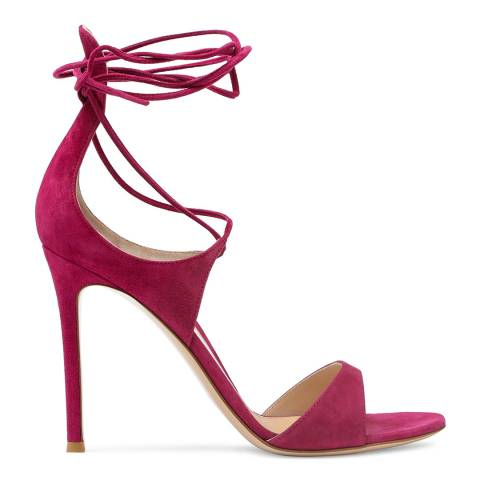 Gianvito Rossi Flamingo Pink Suede Lace Up Heeled Sandals