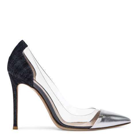 Gianvito Rossi Silver Plexi & Denim High Heel Pumps