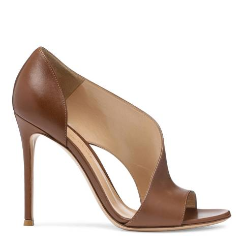 Gianvito Rossi Brown Leather Peep Toe Sandals