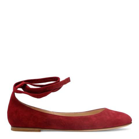 Gianvito Rossi Deep Red Suede Lace Up Flats