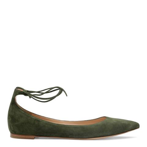 Gianvito Rossi Military Green Suede Lace Up Flats