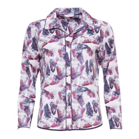 Cyberjammies Amethyst / Rose Cassie Woven Long Sleeve Abstract Print Pyjama Top