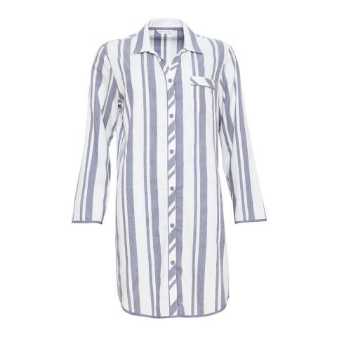 Cyberjammies Grey / White Fifi Woven Long Sleeve Brushed Stripe Nightshirt