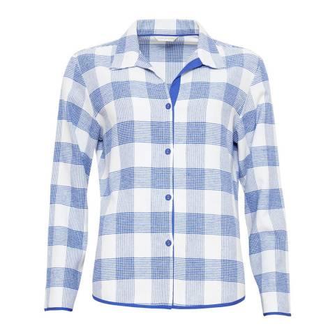 Cyberjammies Blue / White Elisa Woven Long Sleeve Brushed Check Pyjama Top