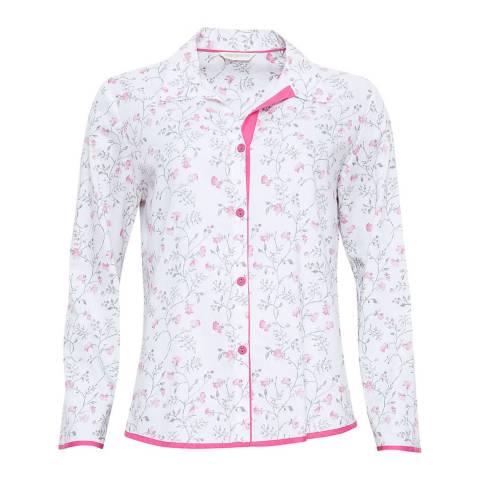 Cyberjammies White / Grey Erica Woven Long Sleeve Floral Print Pyjama Top
