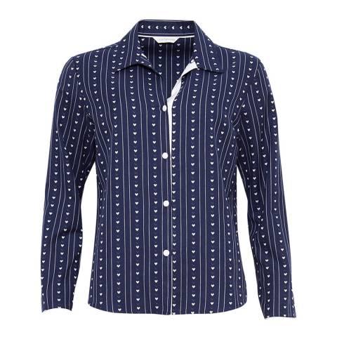 Cyberjammies Navy Zoe Woven Long Sleeve Heart Dobby Pyjama Top
