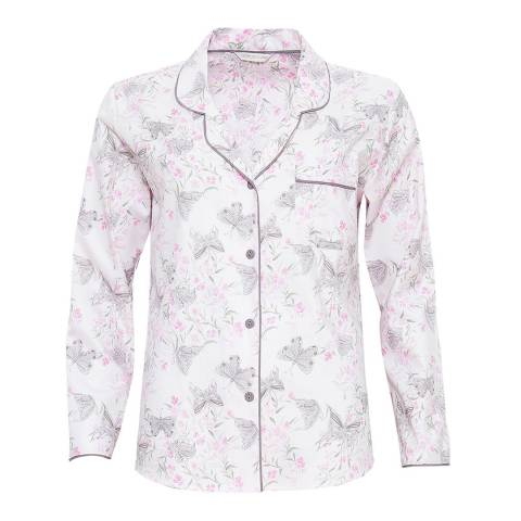 Cyberjammies White Sienna Woven Long Sleeve Butterfly Print Pyjama Top