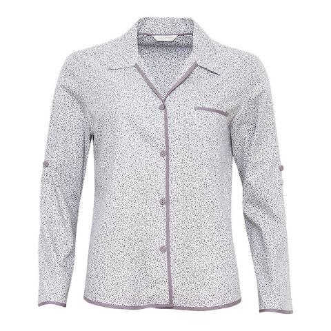 Cyberjammies Grey / White Sienna Woven Turn Up Sleeve Leaf Print Pyjama Top
