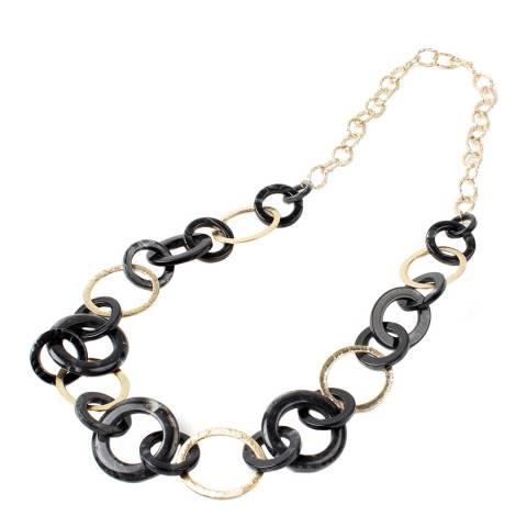 Amrita Singh Gold / Black Linked Hoop Resin Necklace