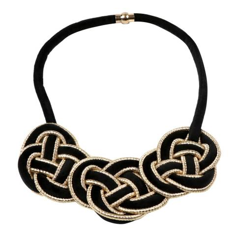 Amrita Singh Gold / Black Velvet Triple Pretzel Collar Necklace