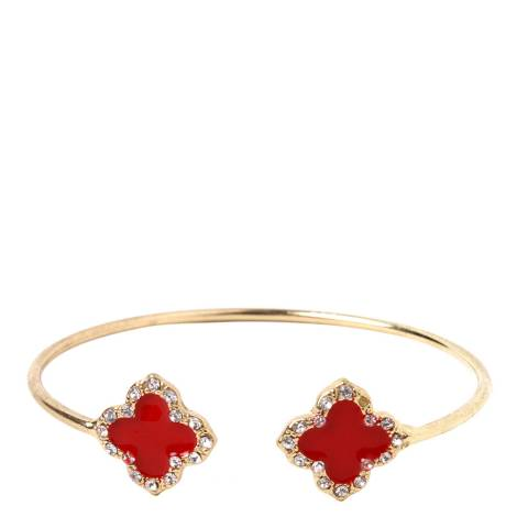 Amrita Singh Gold / Red Enamel Clover Cuff Open Bangle