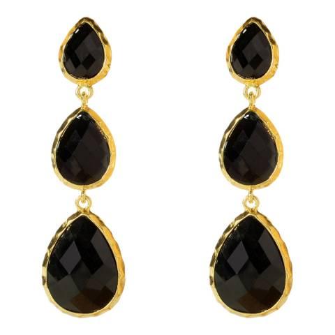 Amrita Singh Gold /Black 3 Teardrop Earrings