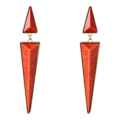 Amrita Singh Gold / Coral Triangle Drop Earrings