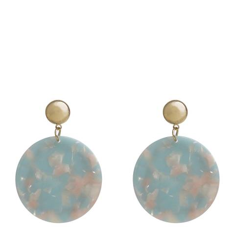 Amrita Singh Gold / Aqua Round Disc Resin Earrings