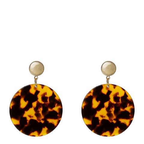Amrita Singh Gold / Brown Round Disc Resin Earrings