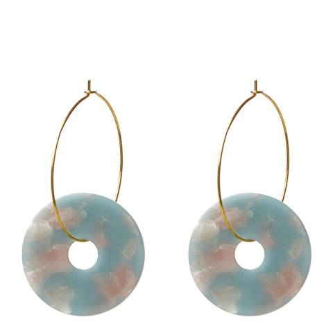 Amrita Singh Gold / Aqua Resin Disc Hoop Earrings